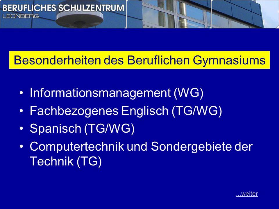 Informationsmanagement (WG) Fachbezogenes Englisch (TG/WG) Spanisch (TG/WG) Computertechnik und Sondergebiete der Technik (TG) Besonderheiten des Beru