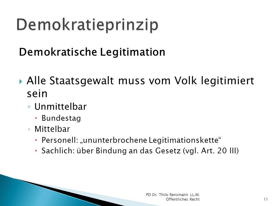 Demokratische Legitimation Alle Staatsgewalt muss vom Volk legitimiert sein Unmittelbar Bundestag Mittelbar Personell: ununterbrochene Legitimationske