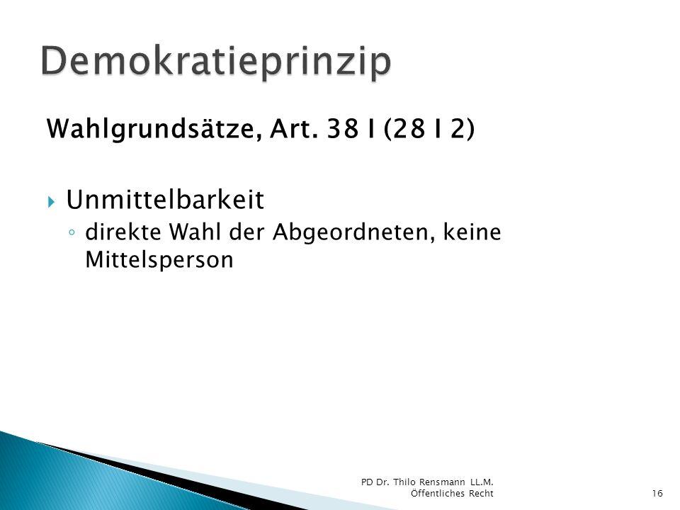 Wahlgrundsätze, Art. 38 I (28 I 2) Unmittelbarkeit direkte Wahl der Abgeordneten, keine Mittelsperson 16 PD Dr. Thilo Rensmann LL.M. Öffentliches Rech
