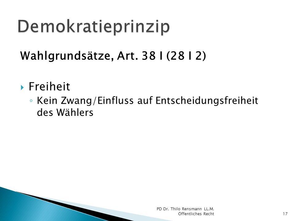 Wahlgrundsätze, Art. 38 I (28 I 2) Freiheit Kein Zwang/Einfluss auf Entscheidungsfreiheit des Wählers 17 PD Dr. Thilo Rensmann LL.M. Öffentliches Rech