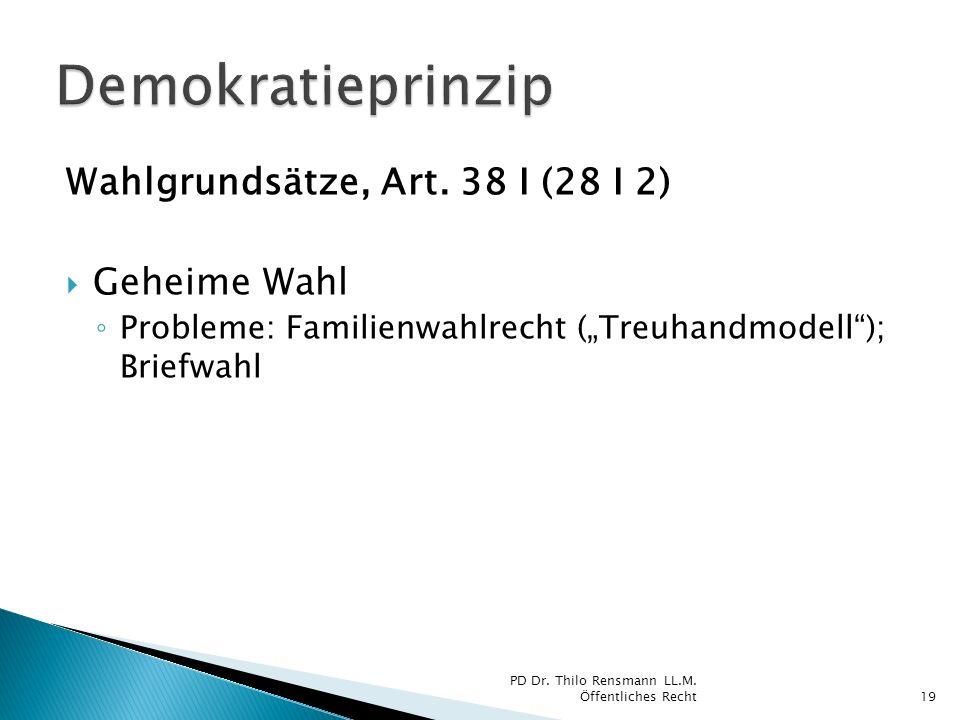 Wahlgrundsätze, Art. 38 I (28 I 2) Geheime Wahl Probleme: Familienwahlrecht (Treuhandmodell); Briefwahl 19 PD Dr. Thilo Rensmann LL.M. Öffentliches Re