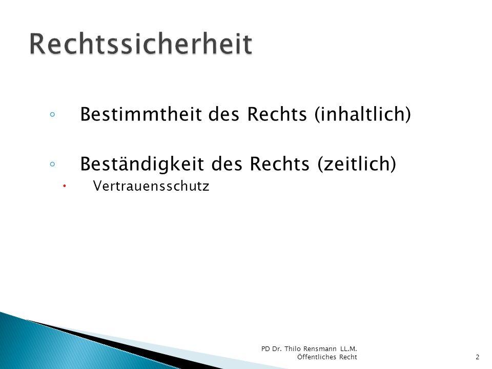 Bestimmtheit des Rechts (inhaltlich) Beständigkeit des Rechts (zeitlich) Vertrauensschutz 2 PD Dr. Thilo Rensmann LL.M. Öffentliches Recht