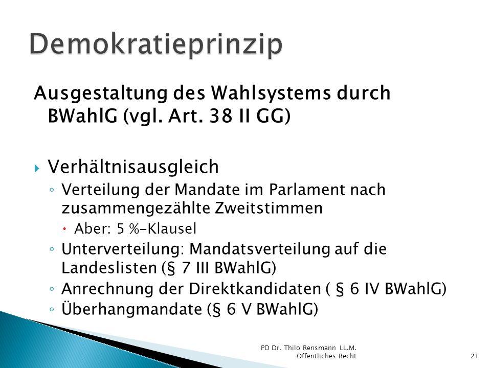 Ausgestaltung des Wahlsystems durch BWahlG (vgl. Art. 38 II GG) Verhältnisausgleich Verteilung der Mandate im Parlament nach zusammengezählte Zweitsti
