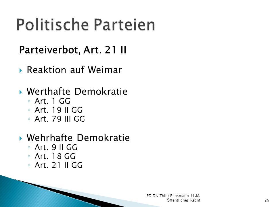Parteiverbot, Art. 21 II Reaktion auf Weimar Werthafte Demokratie Art. 1 GG Art. 19 II GG Art. 79 III GG Wehrhafte Demokratie Art. 9 II GG Art. 18 GG