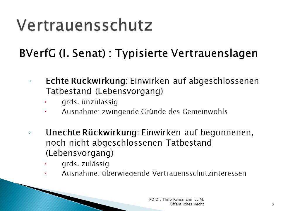 BVerfG (I. Senat) : Typisierte Vertrauenslagen Echte Rückwirkung: Einwirken auf abgeschlossenen Tatbestand (Lebensvorgang) grds. unzulässig Ausnahme:
