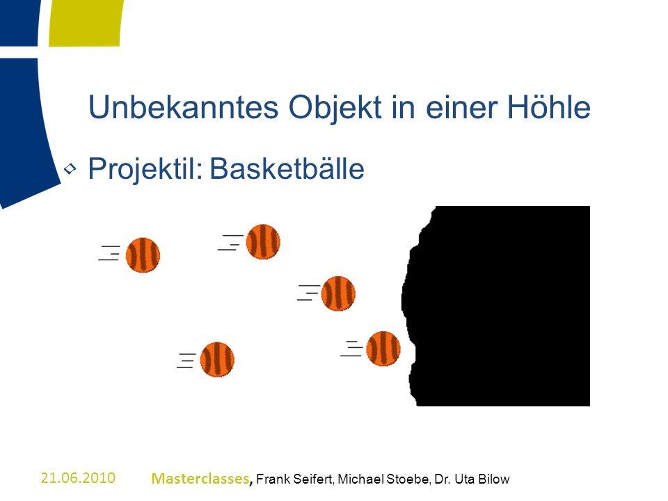 Unbekanntes Objekt in einer Höhle Projektil: Basketbälle 21.06.2010Masterclasses, Frank Seifert, Michael Stoebe, Dr. Uta Bilow