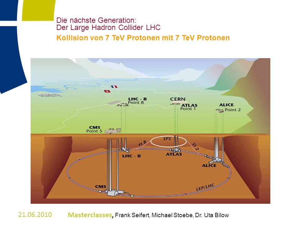 Die nächste Generation: Der Large Hadron Collider LHC Kollision von 7 TeV Protonen mit 7 TeV Protonen 21.06.2010Masterclasses, Frank Seifert, Michael