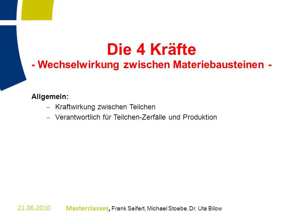 Allgemein: – Kraftwirkung zwischen Teilchen – Verantwortlich für Teilchen-Zerfälle und Produktion 21.06.2010Masterclasses, Frank Seifert, Michael Stoe