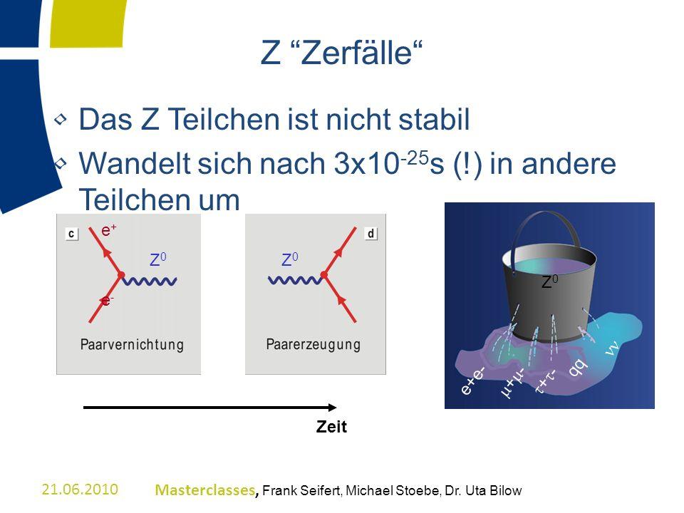 Z Zerfälle Das Z Teilchen ist nicht stabil Wandelt sich nach 3x10 -25 s (!) in andere Teilchen um Z0Z0 e+e- + - qq Zeit Z 0 e+e-e+e- 21.06.2010Masterc
