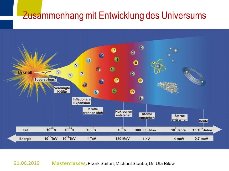 Zusammenhang mit Entwicklung des Universums 21.06.2010Masterclasses, Frank Seifert, Michael Stoebe, Dr. Uta Bilow