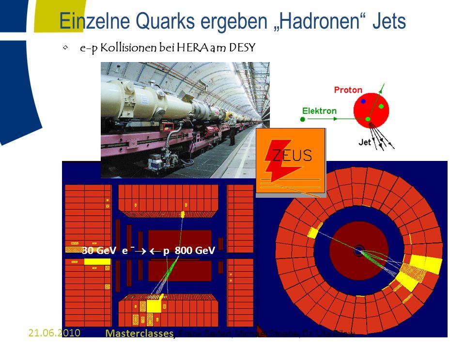Einzelne Quarks ergeben Hadronen Jets e-p Kollisionen bei HERA am DESY 30 GeV e ¯ p 800 GeV 21.06.2010Masterclasses, Frank Seifert, Michael Stoebe, Dr