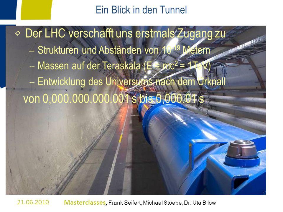 Ein Blick in den Tunnel Der LHC verschafft uns erstmals Zugang zu – Strukturen und Abständen von 10 -19 Metern – Massen auf der Teraskala (E = mc 2 =
