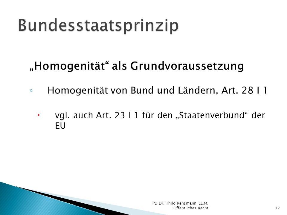 Homogenität als Grundvoraussetzung Homogenität von Bund und Ländern, Art. 28 I 1 vgl. auch Art. 23 I 1 für den Staatenverbund der EU 12 PD Dr. Thilo R