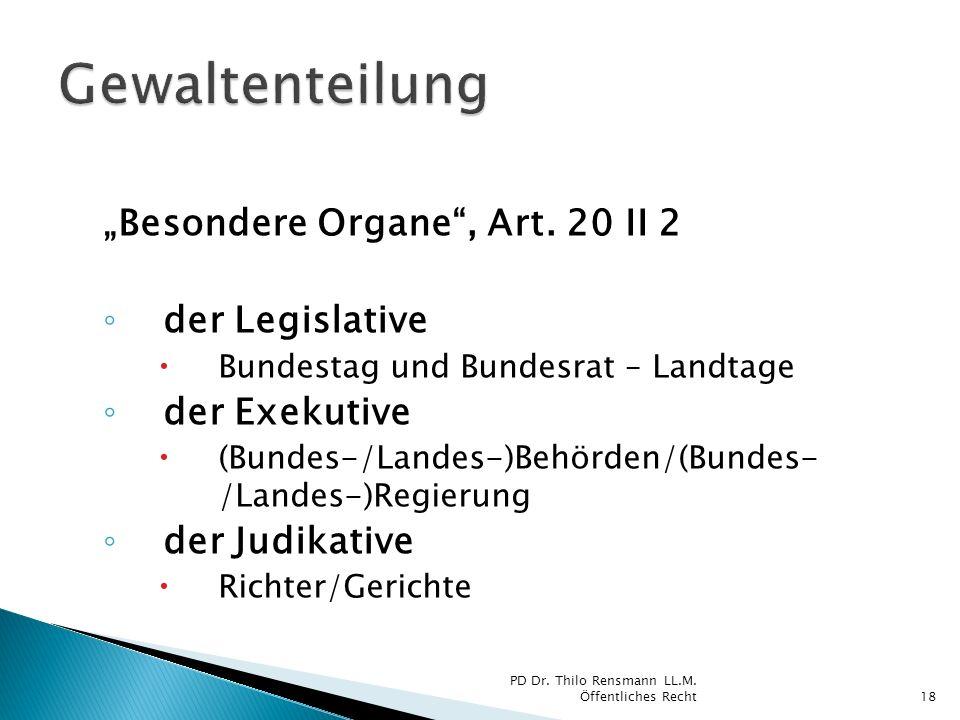 Besondere Organe, Art. 20 II 2 der Legislative Bundestag und Bundesrat – Landtage der Exekutive (Bundes-/Landes-)Behörden/(Bundes- /Landes-)Regierung