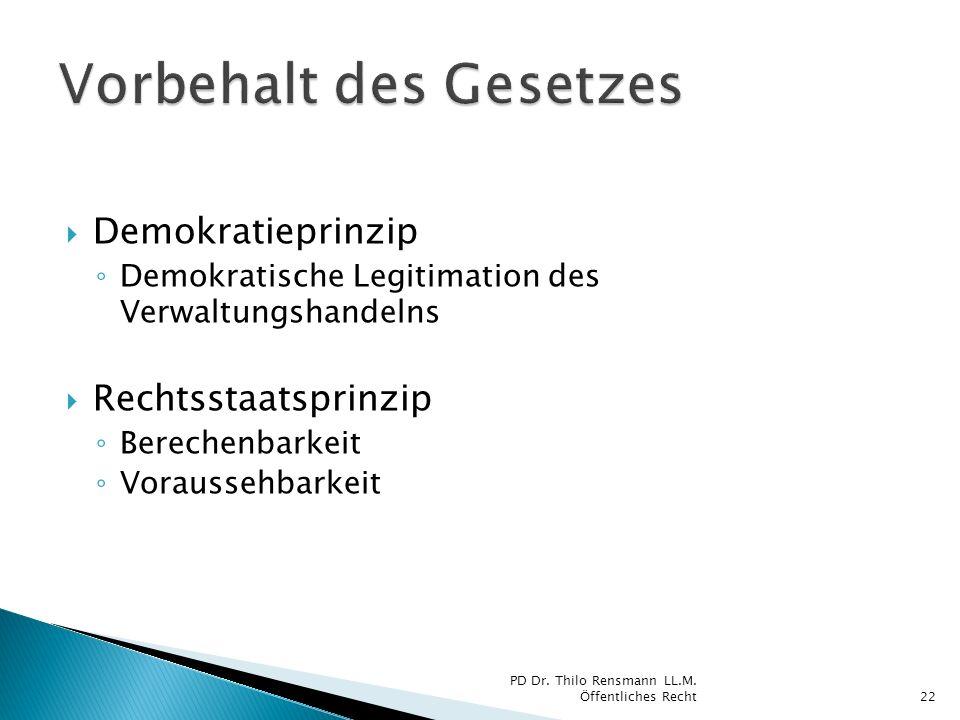 Demokratieprinzip Demokratische Legitimation des Verwaltungshandelns Rechtsstaatsprinzip Berechenbarkeit Voraussehbarkeit 22 PD Dr. Thilo Rensmann LL.