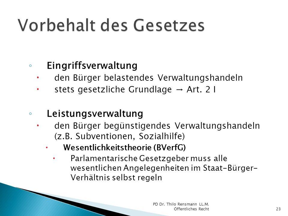 Eingriffsverwaltung den Bürger belastendes Verwaltungshandeln stets gesetzliche Grundlage Art. 2 I Leistungsverwaltung den Bürger begünstigendes Verwa