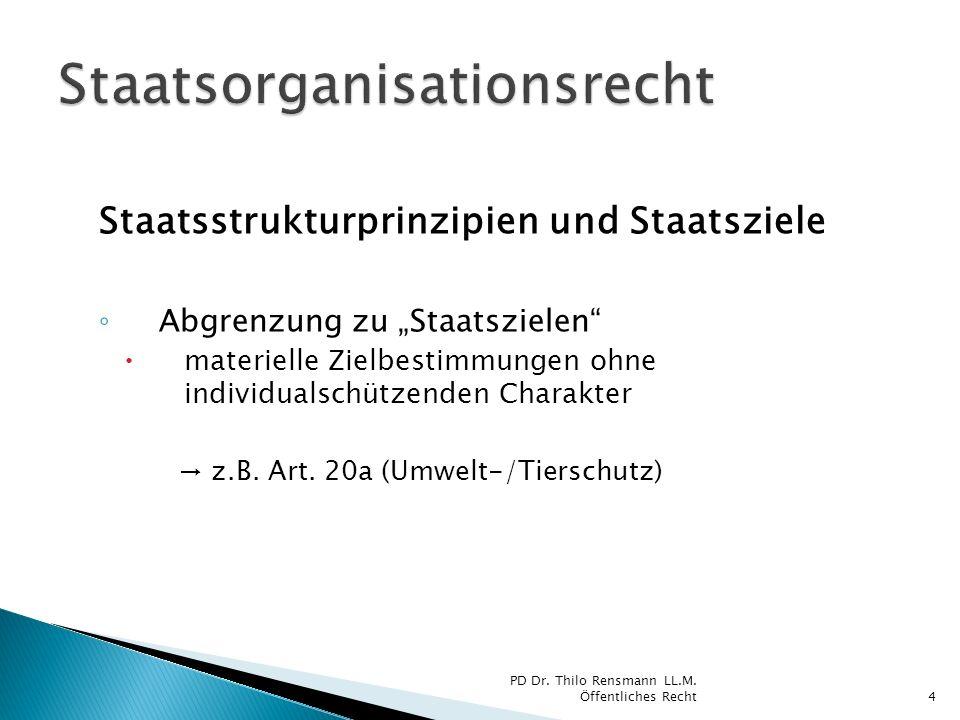 Staatsstrukturprinzipien und Staatsziele Abgrenzung zu Staatszielen materielle Zielbestimmungen ohne individualschützenden Charakter z.B. Art. 20a (Um