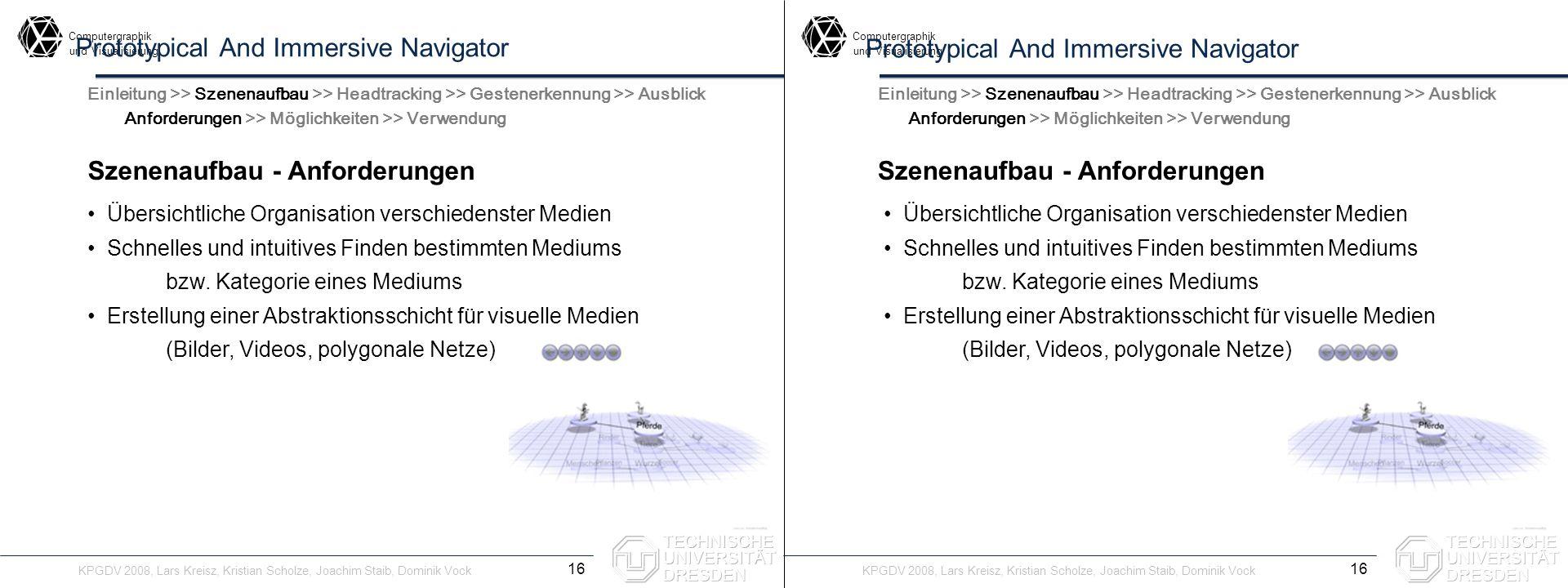 Computergraphik undVisualisierung Computergraphik undVisualisierung Prototypical And Immersive Navigator Szenenaufbau - Anforderungen 16 Einleitung >>