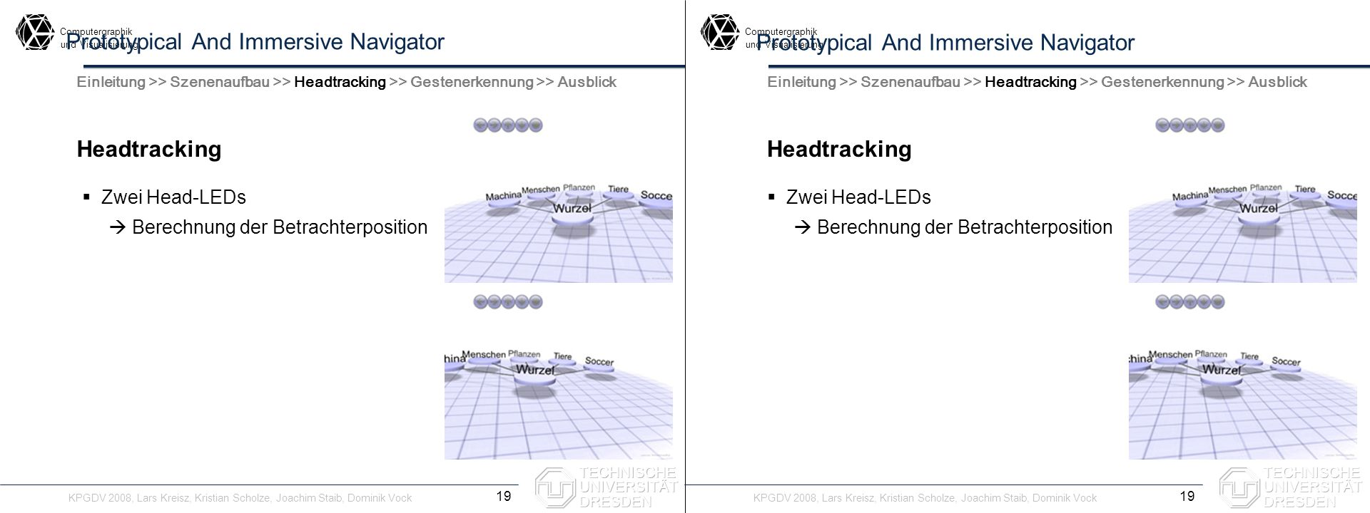 Computergraphik undVisualisierung Computergraphik undVisualisierung Prototypical And Immersive Navigator Headtracking 19 Einleitung >> Szenenaufbau >>