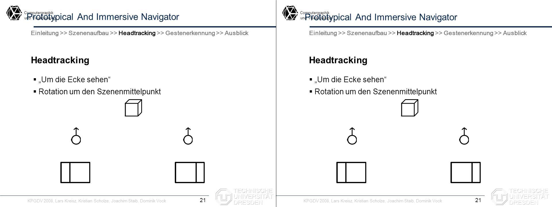 Computergraphik undVisualisierung Computergraphik undVisualisierung Prototypical And Immersive Navigator Headtracking 21 Einleitung >> Szenenaufbau >>