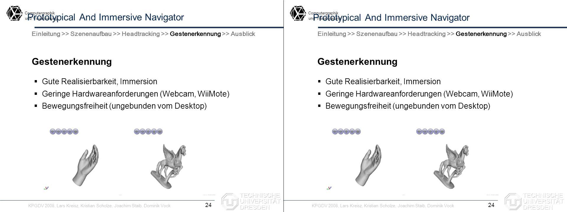 Computergraphik undVisualisierung Computergraphik undVisualisierung Prototypical And Immersive Navigator Gestenerkennung 24 Einleitung >> Szenenaufbau