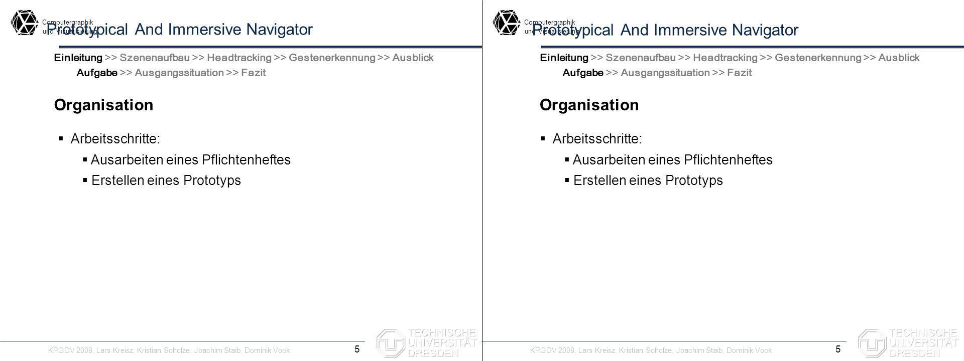 Computergraphik undVisualisierung Computergraphik undVisualisierung Prototypical And Immersive Navigator Organisation 5 Einleitung >> Szenenaufbau >>