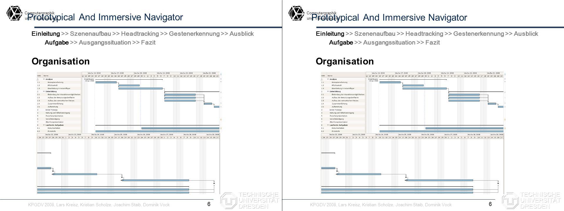 Computergraphik undVisualisierung Computergraphik undVisualisierung Prototypical And Immersive Navigator Szenenaufbau - Möglichkeiten 17 Einleitung >> Szenenaufbau >> Headtracking >> Gestenerkennung >> Ausblick Szenenaufbau - Möglichkeiten Einleitung >> Szenenaufbau >> Headtracking >> Gestenerkennung >> Ausblick Anforderungen >> Möglichkeiten >> Verwendung Lineare Auflistung Ordnungsrelation nötig ungeeignet Baumstrukturierung Kategorisierung in Hierarchien schon recht gut Netzstrukturierung Anordnung in einem Netz besser KPGDV 2008, Lars Kreisz, Kristian Scholze, Joachim Staib, Dominik Vock Lineare Auflistung Ordnungsrelation nötig ungeeignet Baumstrukturierung Kategorisierung in Hierarchien schon recht gut Netzstrukturierung Anordnung in einem Netz besser