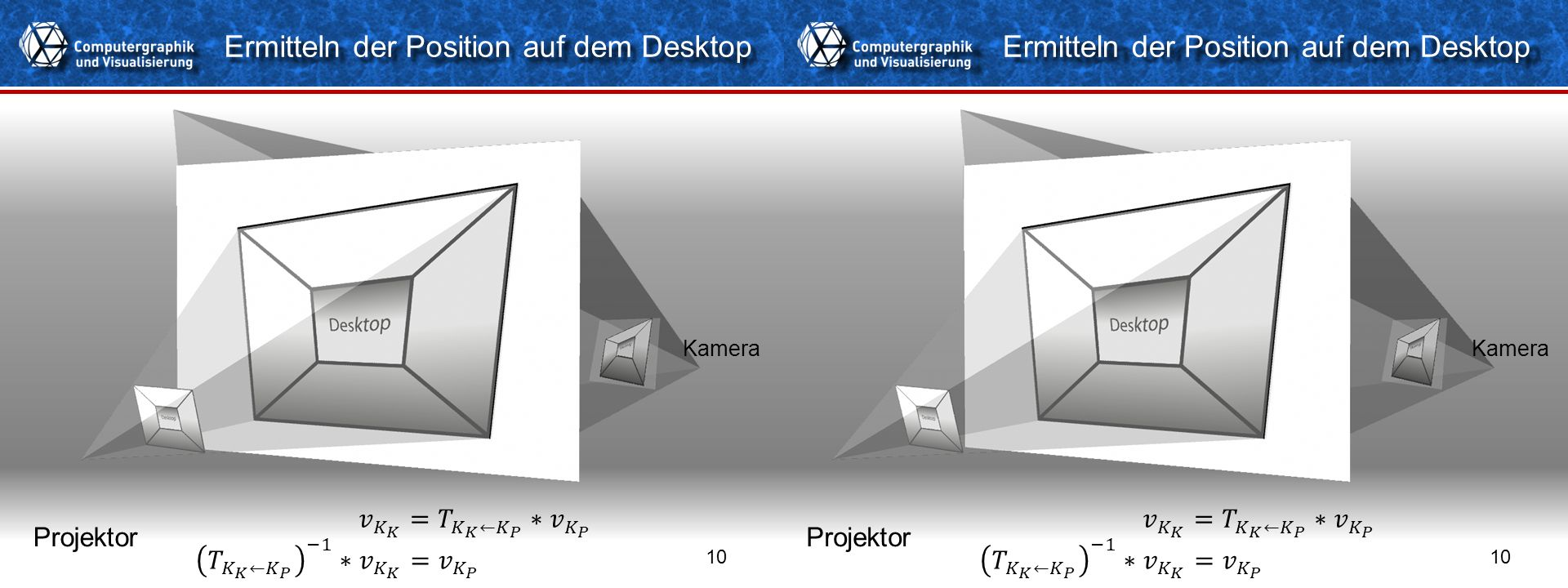 Titelformat Einzeiler 10 Ermitteln der Position auf dem Desktop Projektor Kamera