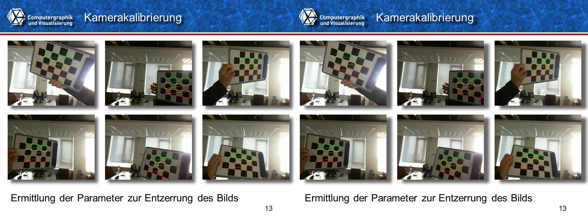 Titelformat Einzeiler 13 Kamerakalibrierung Ermittlung der Parameter zur Entzerrung des Bilds