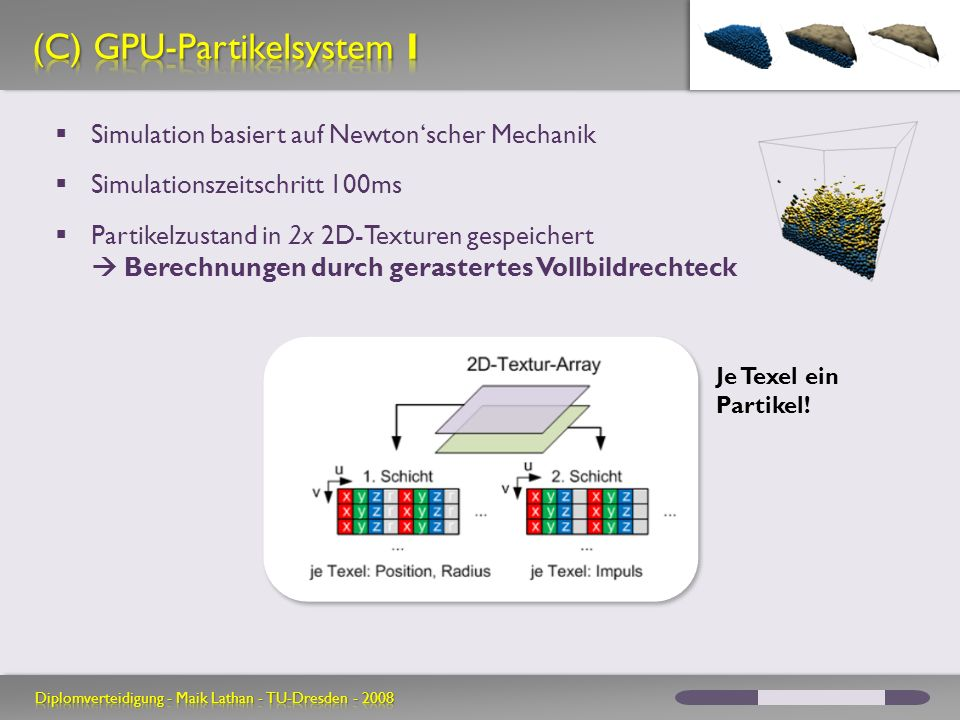 Simulation basiert auf Newtonscher Mechanik Simulationszeitschritt 100ms Partikelzustand in 2x 2D-Texturen gespeichert Berechnungen durch gerastertes Vollbildrechteck Je Texel ein Partikel!