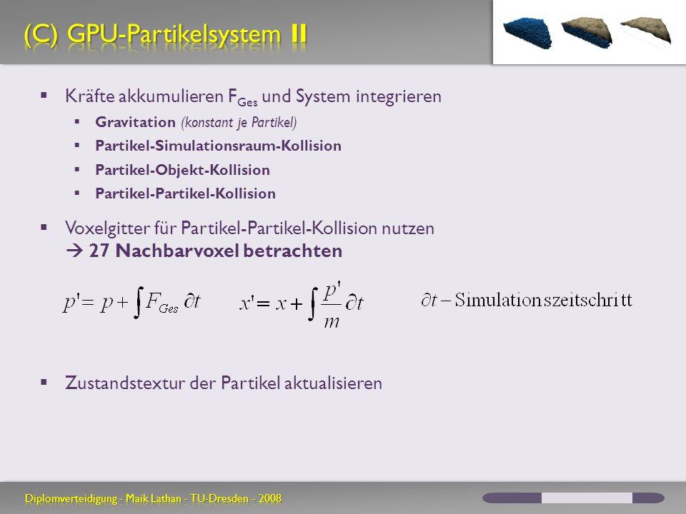 Kräfte akkumulieren F Ges und System integrieren Gravitation (konstant je Partikel) Partikel-Simulationsraum-Kollision Partikel-Objekt-Kollision Parti