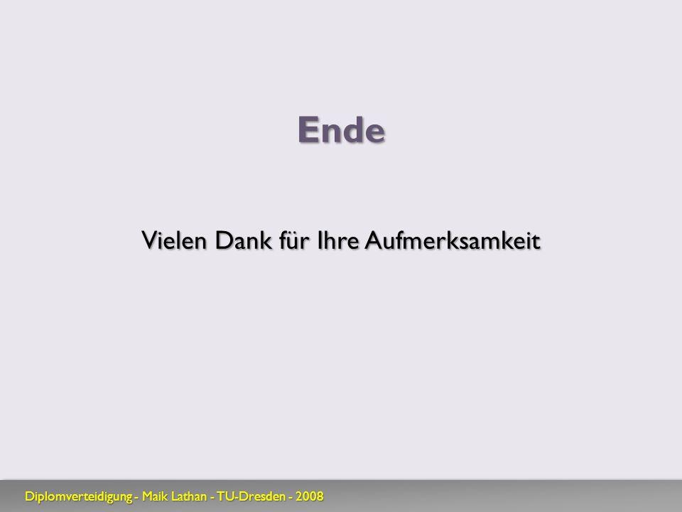 Ende Vielen Dank für Ihre Aufmerksamkeit Diplomverteidigung - Maik Lathan - TU-Dresden - 2008