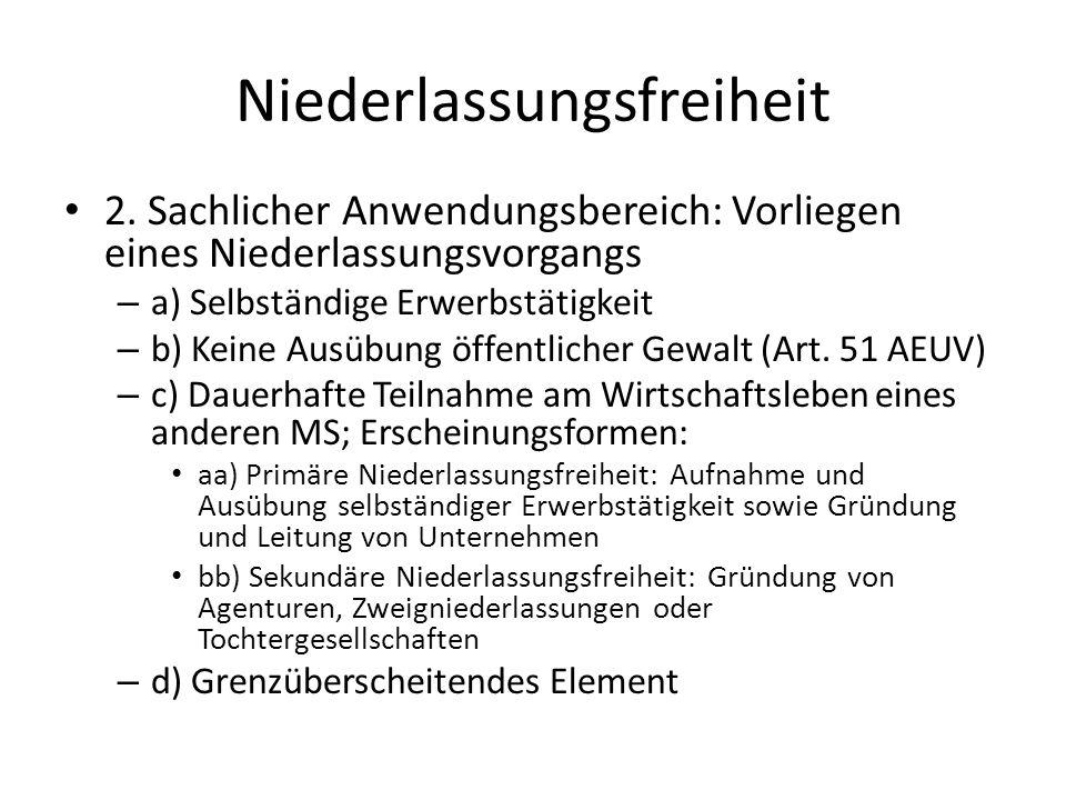 Niederlassungsfreiheit 2. Sachlicher Anwendungsbereich: Vorliegen eines Niederlassungsvorgangs – a) Selbständige Erwerbstätigkeit – b) Keine Ausübung