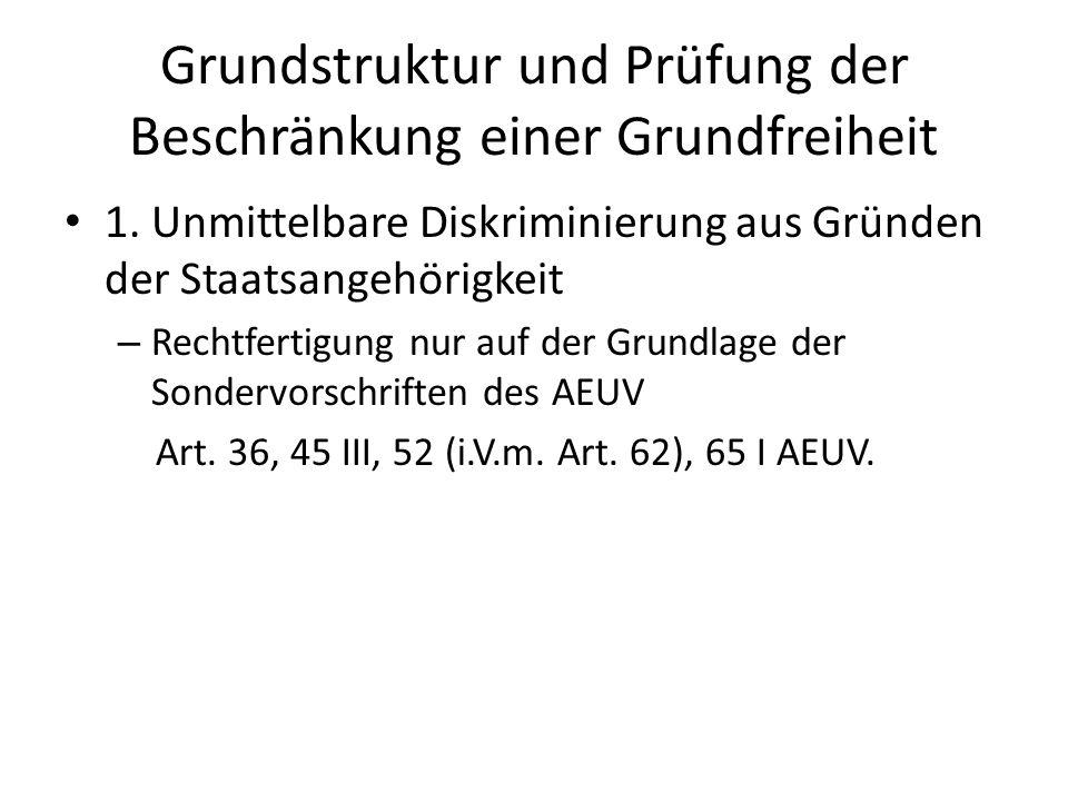 Grundstruktur und Prüfung der Beschränkung einer Grundfreiheit 2.