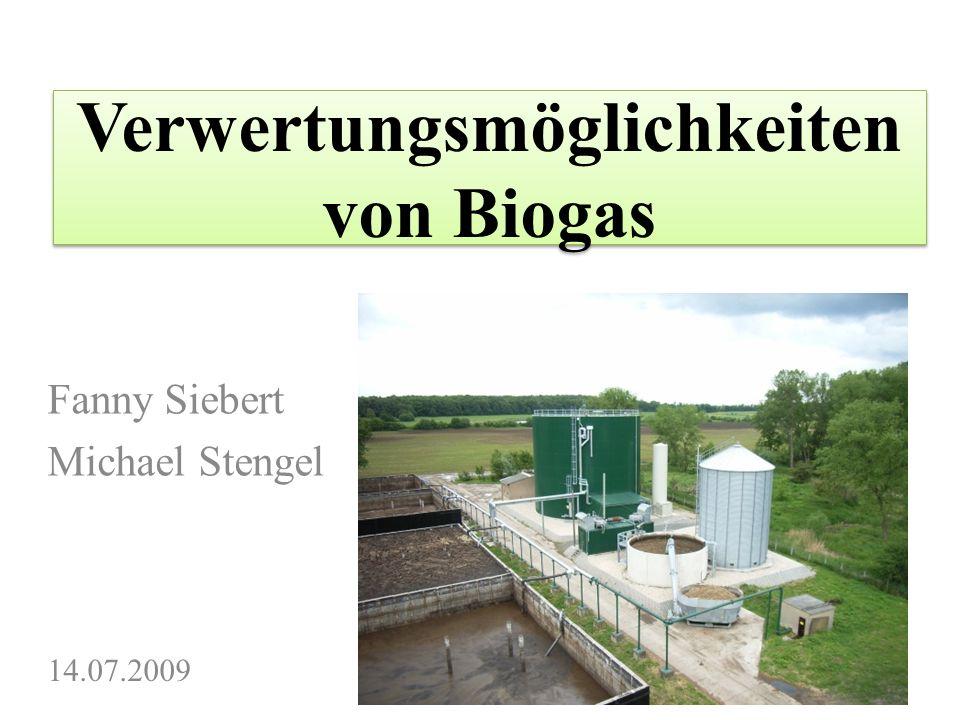 Verwertungsmöglichkeiten von Biogas Fanny Siebert Michael Stengel 14.07.2009