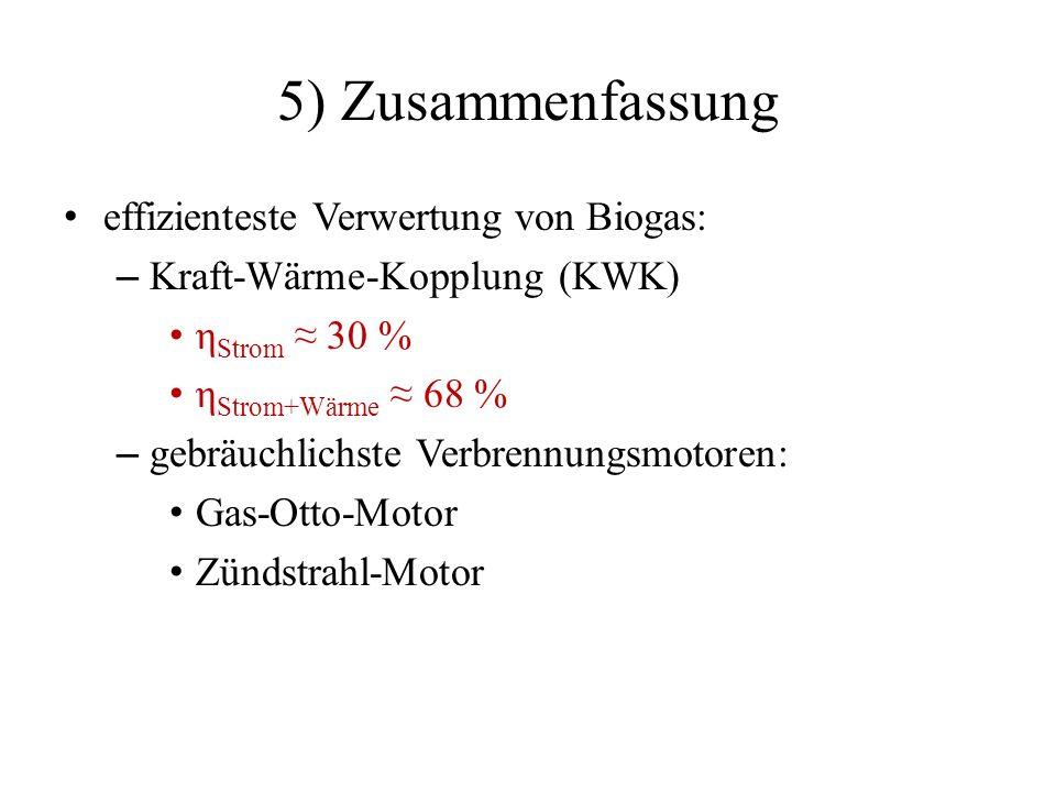 5) Zusammenfassung effizienteste Verwertung von Biogas: – Kraft-Wärme-Kopplung (KWK) η Strom 30 % η Strom+Wärme 68 % – gebräuchlichste Verbrennungsmot