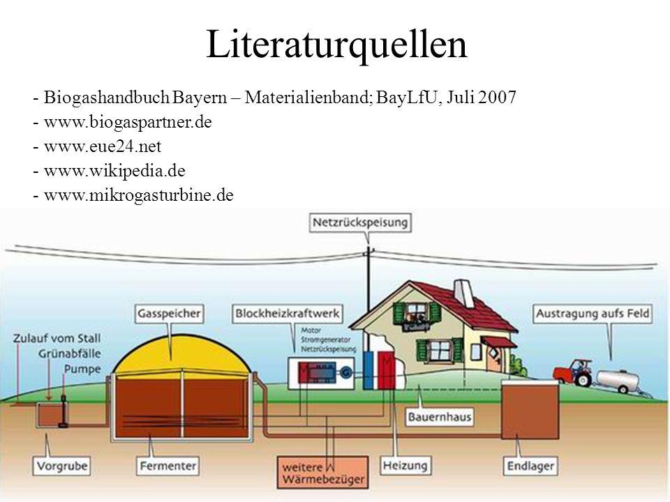 Literaturquellen - Biogashandbuch Bayern – Materialienband; BayLfU, Juli 2007 - www.biogaspartner.de - www.eue24.net - www.wikipedia.de - www.mikrogas