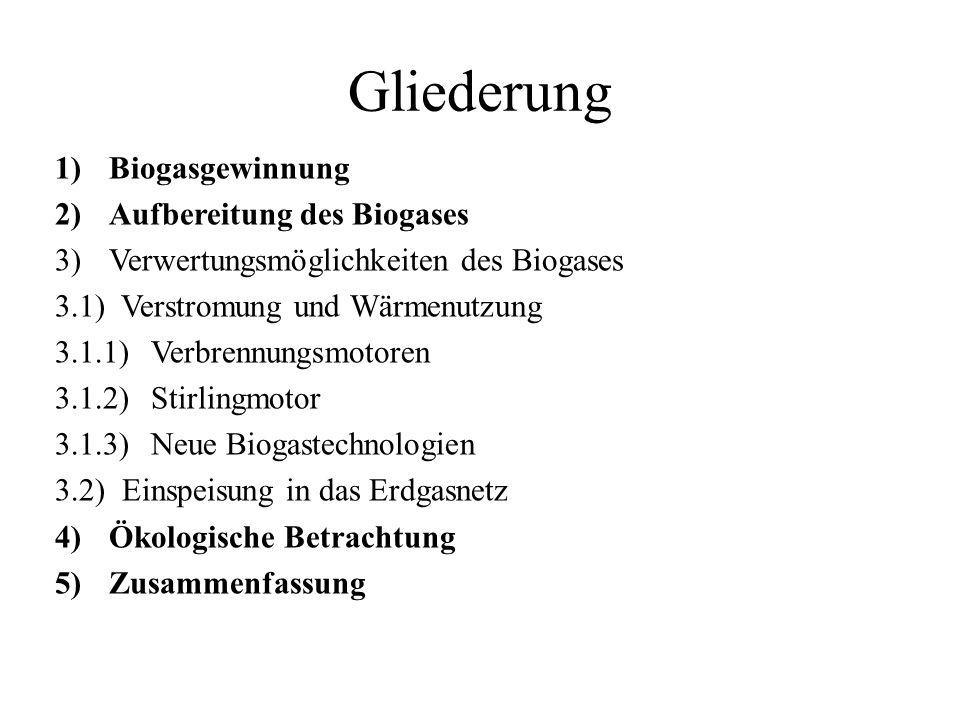 Gliederung 1)Biogasgewinnung 2)Aufbereitung des Biogases 3)Verwertungsmöglichkeiten des Biogases 3.1) Verstromung und Wärmenutzung 3.1.1) Verbrennungs