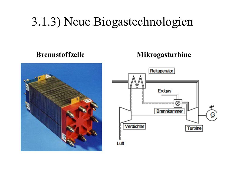 3.1.3) Neue Biogastechnologien BrennstoffzelleMikrogasturbine