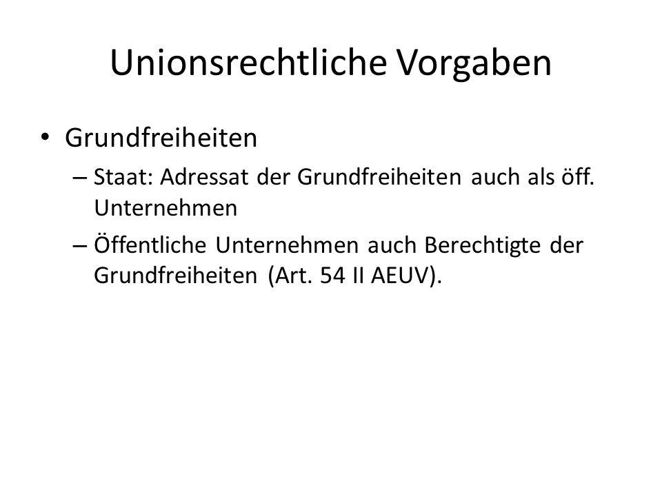 Unionsrechtliche Vorgaben Grundfreiheiten – Staat: Adressat der Grundfreiheiten auch als öff. Unternehmen – Öffentliche Unternehmen auch Berechtigte d