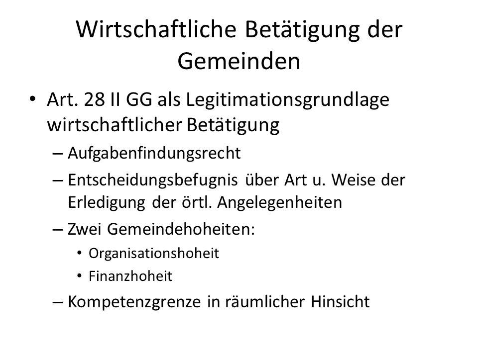 Wirtschaftliche Betätigung der Gemeinden Art. 28 II GG als Legitimationsgrundlage wirtschaftlicher Betätigung – Aufgabenfindungsrecht – Entscheidungsb