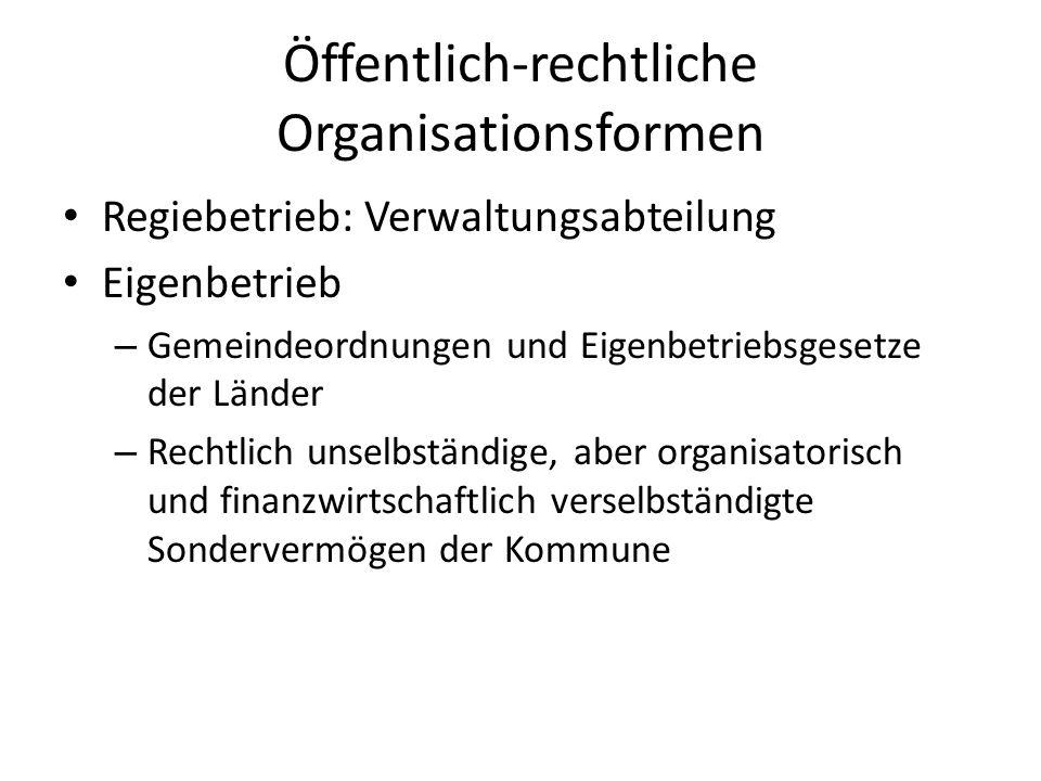 Öffentlich-rechtliche Organisationsformen Regiebetrieb: Verwaltungsabteilung Eigenbetrieb – Gemeindeordnungen und Eigenbetriebsgesetze der Länder – Re