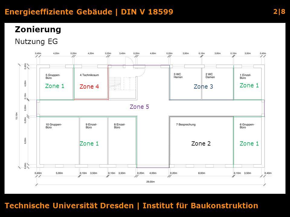 Energieeffiziente Gebäude | DIN V 18599 2|8 Technische Universität Dresden | Institut für Baukonstruktion Zonierung Nutzung EG Zone 5 Zone 1 Zone 2 Zo