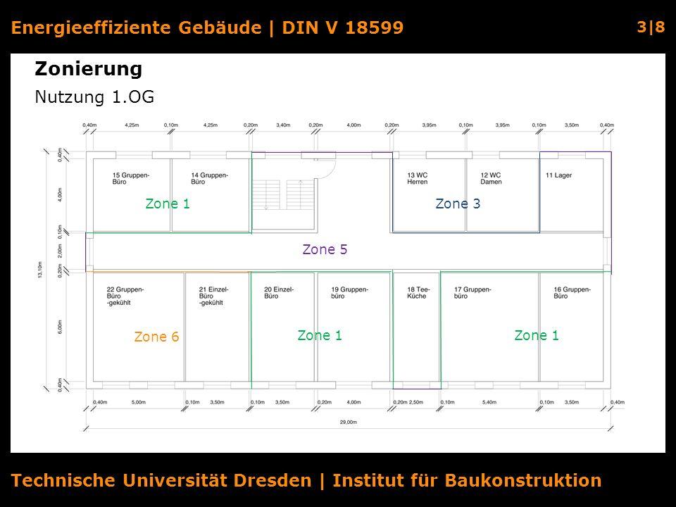 Energieeffiziente Gebäude | DIN V 18599 3|8 Technische Universität Dresden | Institut für Baukonstruktion Zonierung Nutzung 1.OG Zone 1 Zone 3 Zone 6