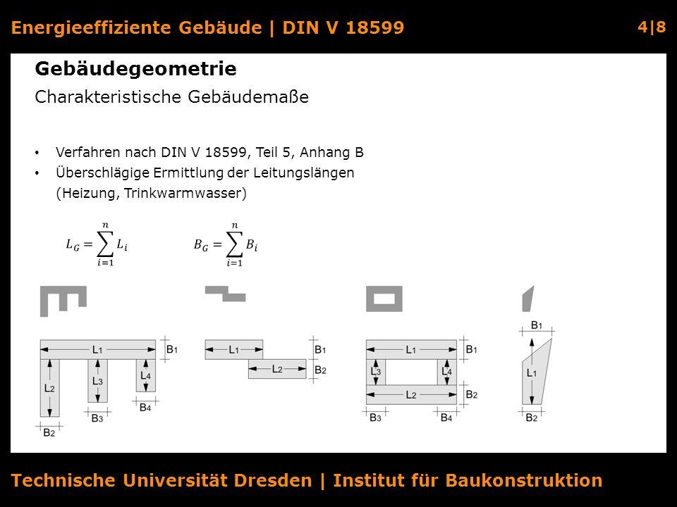 Energieeffiziente Gebäude | DIN V 18599 4|8 Technische Universität Dresden | Institut für Baukonstruktion Gebäudegeometrie Charakteristische Gebäudema