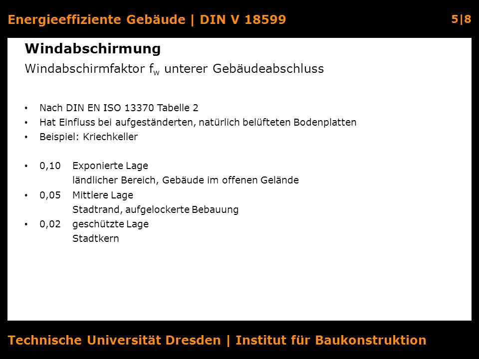 Energieeffiziente Gebäude | DIN V 18599 5|8 Technische Universität Dresden | Institut für Baukonstruktion Windabschirmung Windabschirmfaktor f w unter