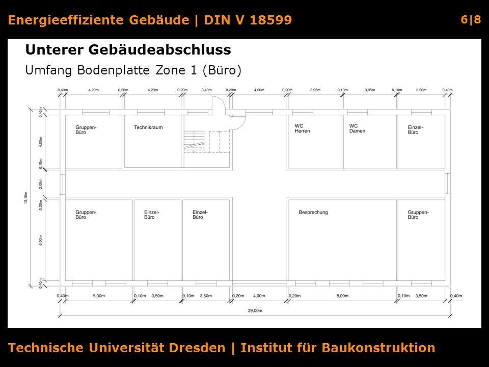 Energieeffiziente Gebäude | DIN V 18599 6|8 Technische Universität Dresden | Institut für Baukonstruktion Unterer Gebäudeabschluss Umfang Bodenplatte