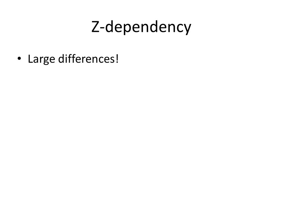 Z-dependency Large differences!