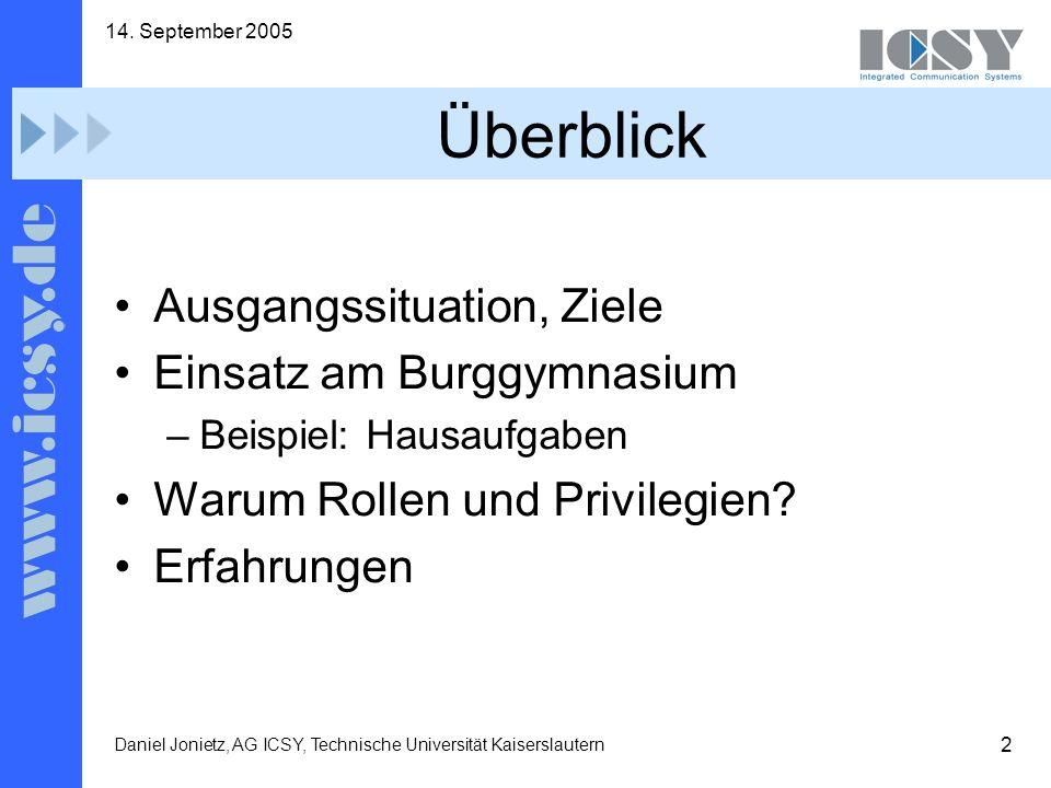13 14. September 2005 Daniel Jonietz, AG ICSY, Technische Universität Kaiserslautern Beispiel
