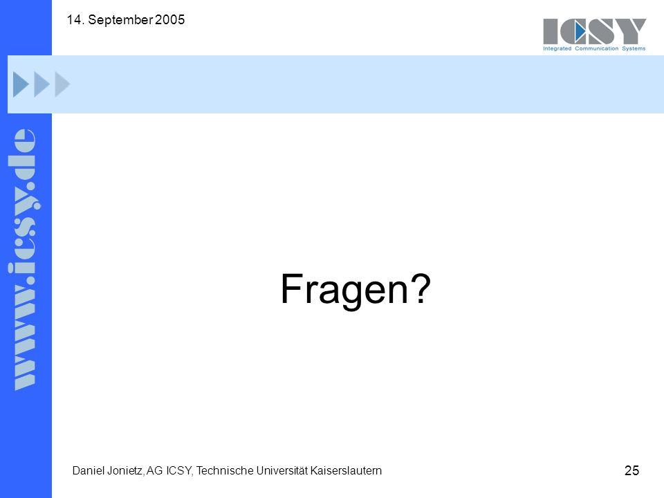 25 14. September 2005 Daniel Jonietz, AG ICSY, Technische Universität Kaiserslautern Fragen